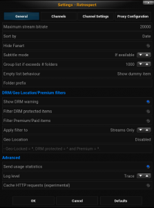 Retrospect Add-on Settings