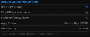 Retrospect Add-On settings for DRM/Premium/Geo items
