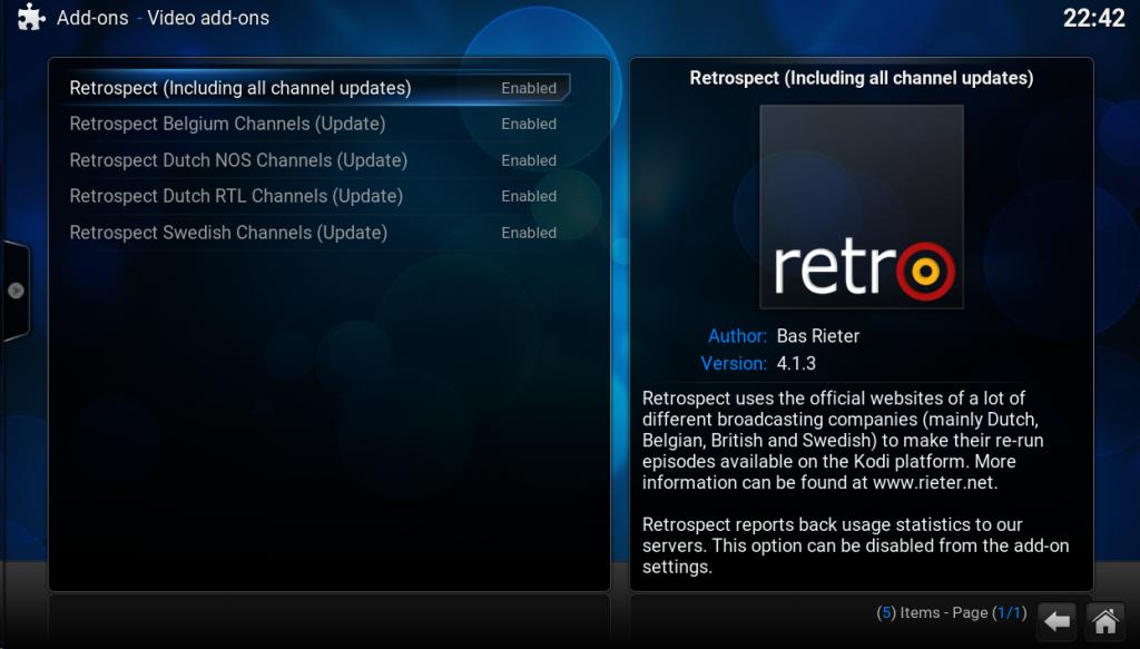 Retrospect Add-ons in the Retrospect Repository